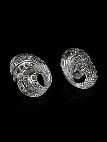 Silver Latch Back Earrings With Marcasites The Lace, image , picture 2