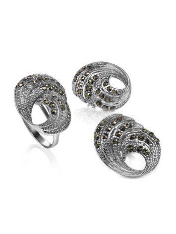 Silver Cocktail Ring With Marcasites The Lace, Ring Size: 8.5 / 18.5, image , picture 4