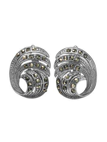 Silver Latch Back Earrings With Marcasites The Lace, image , picture 3