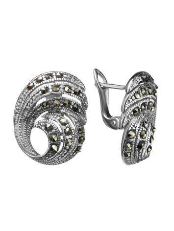 Silver Latch Back Earrings With Marcasites The Lace, image