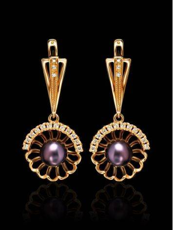 Gold-Plated Floral Dangles With Deep Purple Cultured Pearls And Crystals The Serene, image , picture 2