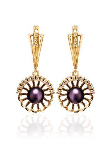 Gold-Plated Floral Dangles With Deep Purple Cultured Pearls And Crystals The Serene, image