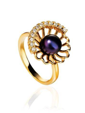 Gold-Plated Floral Ring With Deep Purple Cultured Pearl And Crystals The Serene, Ring Size: 8 / 18, image