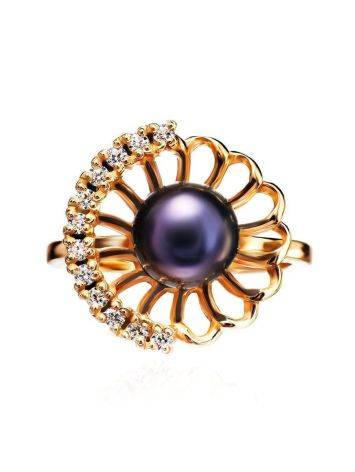 Gold-Plated Floral Ring With Deep Purple Cultured Pearl And Crystals The Serene, Ring Size: 8 / 18, image , picture 3