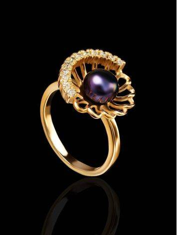 Gold-Plated Floral Ring With Deep Purple Cultured Pearl And Crystals The Serene, Ring Size: 8 / 18, image , picture 2