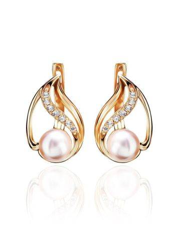 Refined Gold-Plated Earrings With Cultured Pearl And White Crystals The Serene, image
