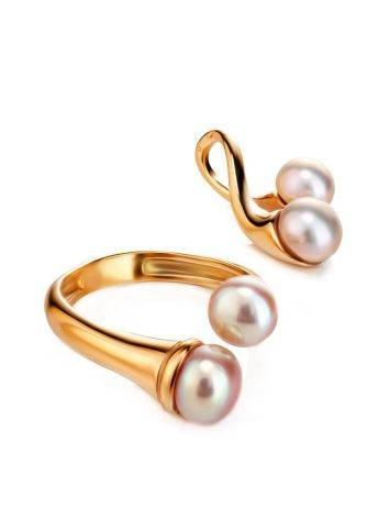 Twisted Gold-Plated Ring With Creamrose Cultured Pearl The Serene, Ring Size: Adjustable, image , picture 5