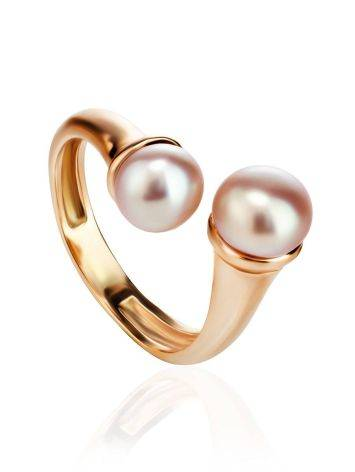 Twisted Gold-Plated Ring With Creamrose Cultured Pearl The Serene, Ring Size: Adjustable, image