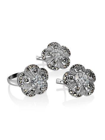Silver Floral Ring With Crystals And Marcasites The Lace, Ring Size: 5.5 / 16, image , picture 4