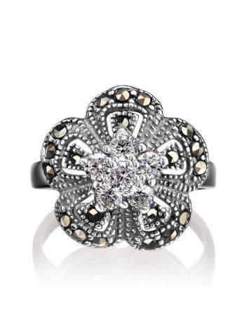 Silver Floral Ring With Crystals And Marcasites The Lace, Ring Size: 5.5 / 16, image , picture 3
