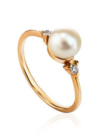 Gold-Plated Ring With Cultured Pearl And Crystals The Themis, Ring Size: 8.5 / 18.5, image