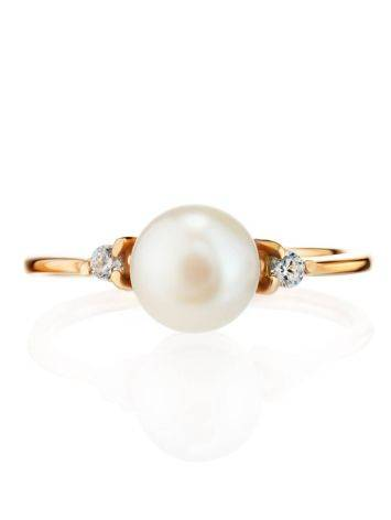 Gold-Plated Ring With Cultured Pearl And Crystals The Themis, Ring Size: 8.5 / 18.5, image , picture 3