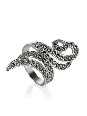 Snake Design Silver Ring With Marcasites The Lace, Ring Size: 8 / 18, image , picture 3