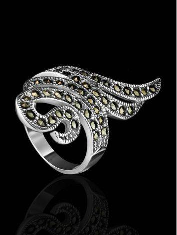 Snake Design Silver Ring With Marcasites The Lace, Ring Size: 8 / 18, image , picture 2