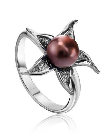 Silver Floral Ring With Deep Purple Cultured Pearl The Persimmon, Ring Size: 6.5 / 17, image