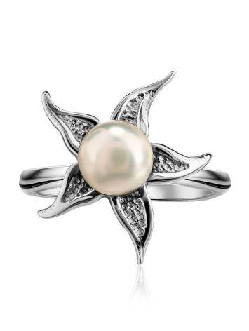 Silver Floral Ring With White Cultured Pearl The Persimmon, Ring Size: 6.5 / 17, image , picture 3