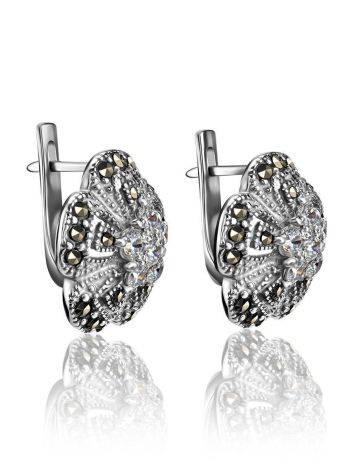 Silver Floral Earrings With Crystals And Marcasites The Lace, image , picture 3