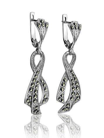 Twisted Marcasite Dangle Earrings In Sterling Silver The Lace, image , picture 3