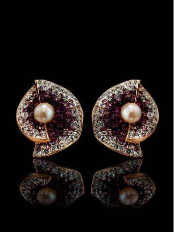 Floral Gold-Plated Earrings With Crystals And Cultured Pearls The Jungle, image , picture 2