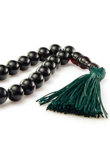 33 Black Amber Muslim Rosary With Green Tassel, image , picture 3