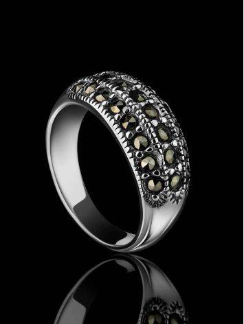 Sterling Silver Band Ring With Marcasites The Lace, Ring Size: 5.5 / 16, image , picture 2