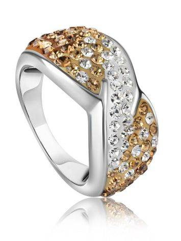 Silver Band Ring With Two Toned Crystals The Eclat, Ring Size: 6.5 / 17, image