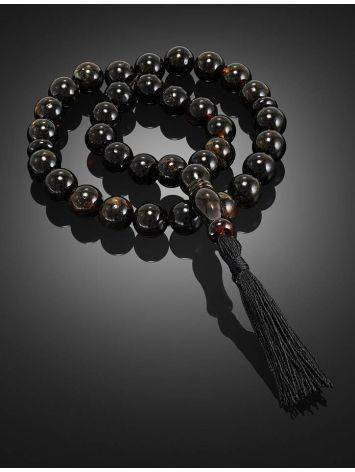 33 Black Amber Islamic Prayer Beads With Tassel, image , picture 2