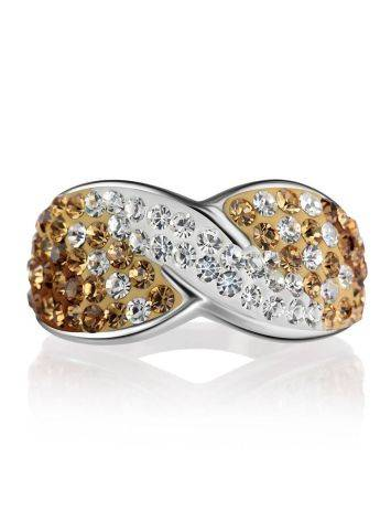 Silver Band Ring With Two Toned Crystals The Eclat, Ring Size: 6.5 / 17, image , picture 3