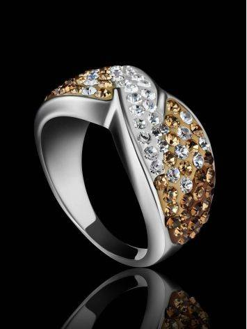 Silver Band Ring With Two Toned Crystals The Eclat, Ring Size: 6.5 / 17, image , picture 2