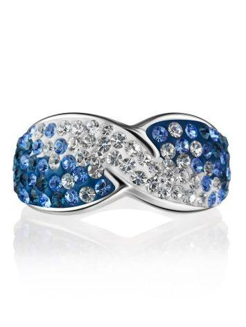Silver Band Ring With Blue And White Crystals The Eclat, Ring Size: 7 / 17.5, image , picture 3