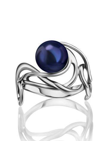 Voluptuous Silver Cocktail Ring With Deep Purple Cultured Pearl The Serene, Ring Size: 6 / 16.5, image , picture 3