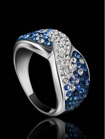 Silver Band Ring With Blue And White Crystals The Eclat, Ring Size: 7 / 17.5, image , picture 2