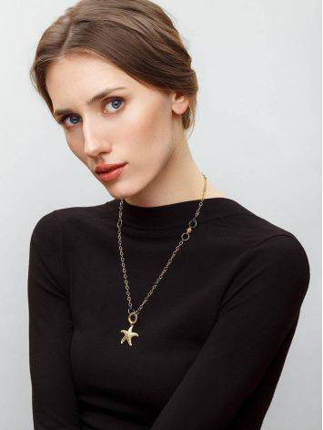 Gold Plated Necklace With Star Shaped Pendant, image , picture 3