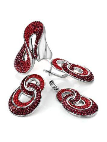 Red Crystal Earrings In Sterling Silver The Eclat, image , picture 5