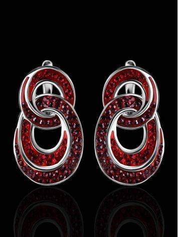 Red Crystal Earrings In Sterling Silver The Eclat, image , picture 2