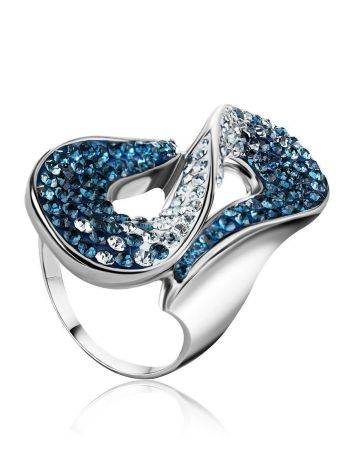 Blue And White Crystal Cocktail Ring In Sterling Silver The Eclat, Ring Size: 10 / 20, image