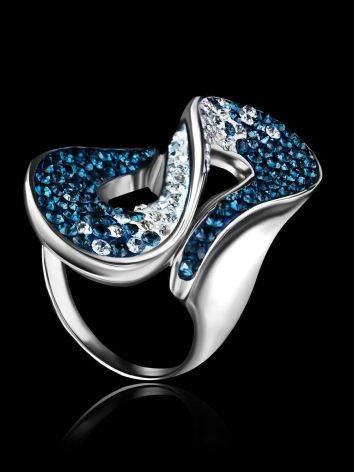 Blue And White Crystal Cocktail Ring In Sterling Silver The Eclat, Ring Size: 10 / 20, image , picture 2