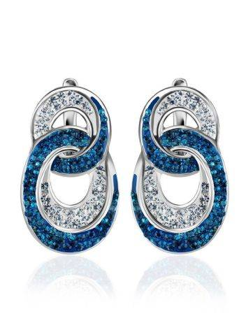 Sterling Silver Earrings With Blue And White Crystals The Eclat, image