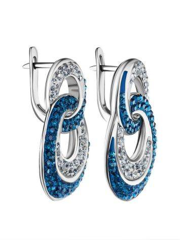 Sterling Silver Earrings With Blue And White Crystals The Eclat, image , picture 3