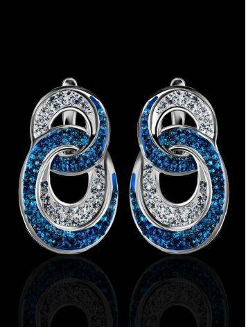 Sterling Silver Earrings With Blue And White Crystals The Eclat, image , picture 2