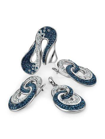 Sterling Silver Earrings With Blue And White Crystals The Eclat, image , picture 4