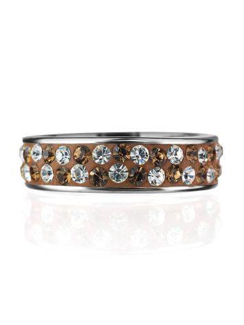 Sterling Silver Ring With Brown Crystals The Eclat, Ring Size: 5 / 15.5, image , picture 3