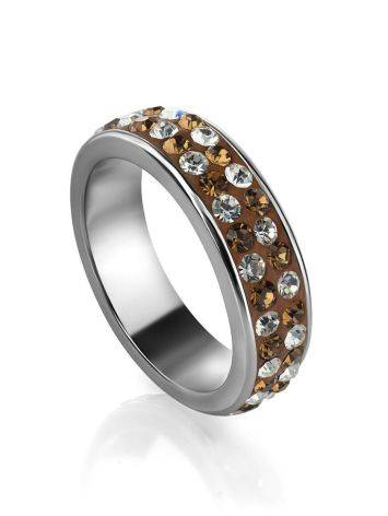 Sterling Silver Ring With Brown Crystals The Eclat, Ring Size: 5 / 15.5, image