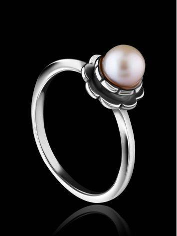 Cute Silver Ring With Mauve Colored Cultured Pearl The Serene, Ring Size: 8 / 18, image , picture 2