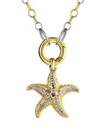 Gold Plated Necklace With Star Shaped Pendant, image