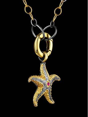 Gold Plated Necklace With Star Shaped Pendant, image , picture 2
