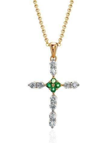 Golden Cross Necklace With Emeralds And Diamonds, image
