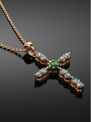 Golden Cross Necklace With Emeralds And Diamonds, image , picture 2