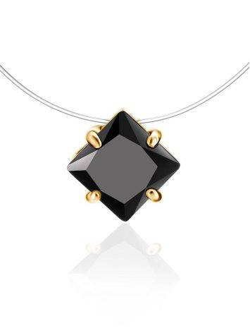Invisible Line Necklace With Black Square Crystal The Aurora, Length: 40, image