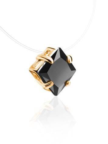 Invisible Line Necklace With Black Square Crystal The Aurora, Length: 40, image , picture 3